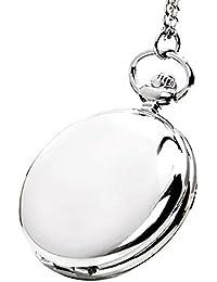 Moderno polaco suave cuarzo reloj de bolsillo colgante número árabe Dial mujeres hombres plata