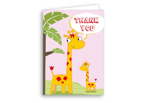 Image of 12 Pack Children's Thank You Cards Jungle Giraffe Pink