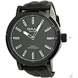 Omax Mens Wrist Watch Black Lither Strap Black with Black Dial