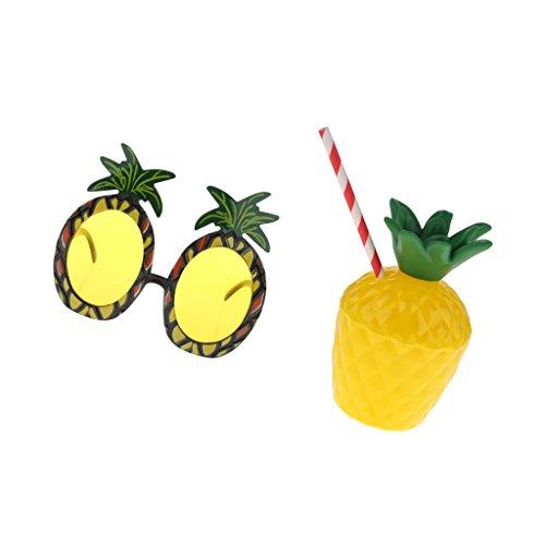 Sharplace Hawaiian Tropische Party Kostüm Set, (Partybrillen, Becher)