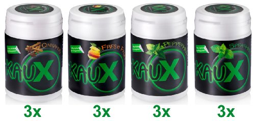 kauX Xylitol Zahnpflege-Kaugummi 12'er Pack gemischt (60g=40 Stück pro Dose)