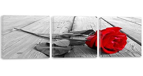 Feeby Frames, Tableau multi panneau - 3 parties - Panoramique, Tableau imprimé xxl, Tableau imprimé sur toile, Tableau deco, 90x30 cm, PLANCHES, RUSTIQUE, ROSE, ROUGE, GRIS