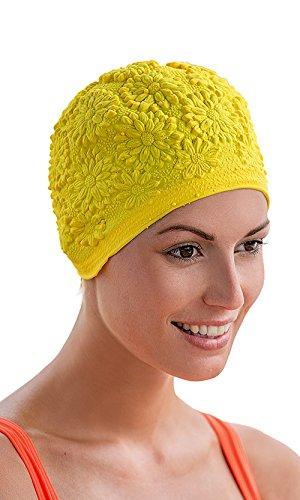 Fashy–cuffia da bagno giallo donna fiori