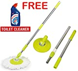 #1: Zoyo Mop Rod Stick Stainless Steel with Plate and Microfiber Mop Stick & 1 Mop Head Mop 360° Rotate S.S Rod Pocha