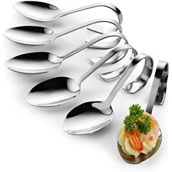 6 first course serving spoons appetizer canape dish for Plastic canape spoons