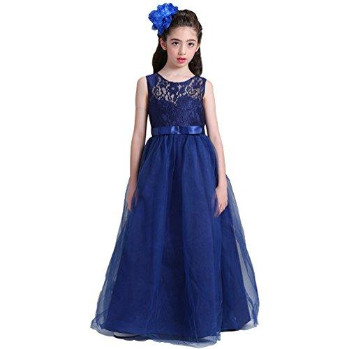 zessin Brautjungfer Tüll Kleider Festliche Party Spitze Blumenkind Kleid (Navy Blau, 170 CM) (Navy Kinder Brautjungfer Kleider)