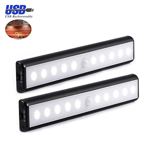 LED Schrankbeleuchtung Nachtlicht, Stick-On Anywhere 10 LED Wireless-Kabinett-Nachtlicht mit abnehmbarem Magnet Adsorption, aufladbaren Akku gespeist für Schränke / Schrank / Treppe / Abstellraum (warmweiß)