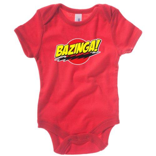 Badass Babies Baby Body Druck Bazinga, Red, 3-6 Monate