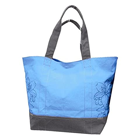 Canvas Embroidered Beach Bag with long handles bandoulieres blue