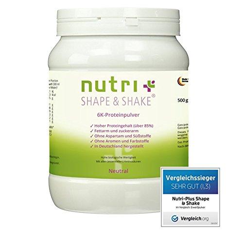 TESTSIEGER: Nutri-Plus Shape & Shake Neutral 500g - Eiweißpulver ohne Aspartam, Süßstoff & Aromen - Mit Whey + Casein - Low-Carb - mit Dosierlöffel