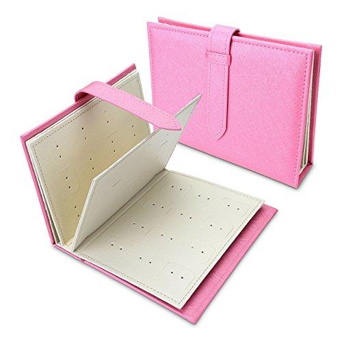 Taumini - Organizador de pendientes, organizador de libros, pequeño y portátil, para viaje, joyería, pendientes, pendientes, organizador, expositor, bolsa de almacenamiento, caja