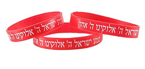 3 ROT Armbänder SCHEMA ISRAEL jüdische hebräische Kabbala Gummi-Armbänder Anzahl
