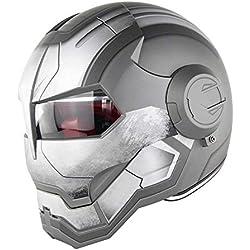 D.O.T Certificado Motocross Casco De Motocross Cara Completa Casco Moto Tapa Abierta Casco De Máscara, Iron Man Transformers - M, L, XL Gris,XL60~61CM