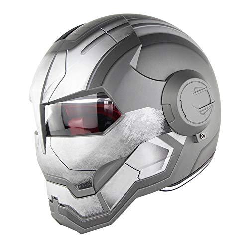 D.O.T Zertifiziert Motorrad Helm Motocross Vollgesichts Casco Moto Flip Offene Maske Helm, Iron Man Transformers - M, L, XL Grau,L59~60CM