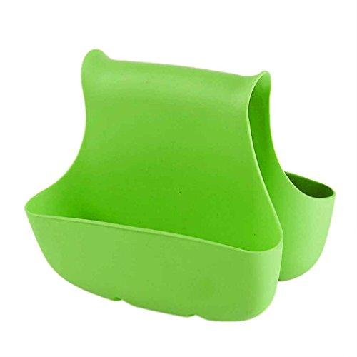 meisijia Doppelseitige Spüle Schwammhalter Tasche Abfluss Geschirrtücher Bad Armaturen Korb Grün