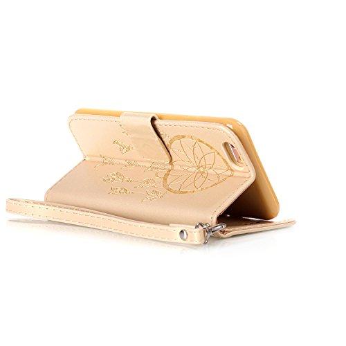 """MOONCASE iPhone 6 Plus / 6S Plus (5.5"""") Étui, Attrapeur de rêves Relief Motif Protection en PU Cuir Folio Housse Béquille Etui à rabat Case Cover avec Porte-cartes Fentes Portefeuille Béquille Fermetu Doré"""