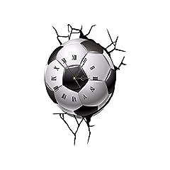 Idea Regalo - ZXLIFE@ Decalcomanie Dell'orologio di Parete di Calcio 3D, Orologio di Wall Sticker Cracking del Calcio, Orologio di Parete di DIY del Salone della Decorazione della Casa