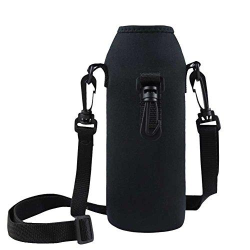 Tiaobug Thermo-Hülle Neopren Flaschen Hülle Schwarz 1 L für Trinkflasche Flasche Hülle Tasche Isolier-Tasche mit Träger in Schwarz/Blau (Schwarz) -