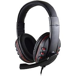 Casque stéréo Filaire Pas Cher Gaming Over Ear Earphones avec Micro pour PS4 3.5mm (Rouge)