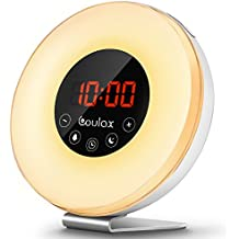 Wake Up Light,COULAX Alarm Clock Sunrise & Sunset Simulator Digital Clock 7 Changeable Colors Touch Control LED Display Night Light Table Lamp with FM Radio Snooze Function 6 Nature Sounds