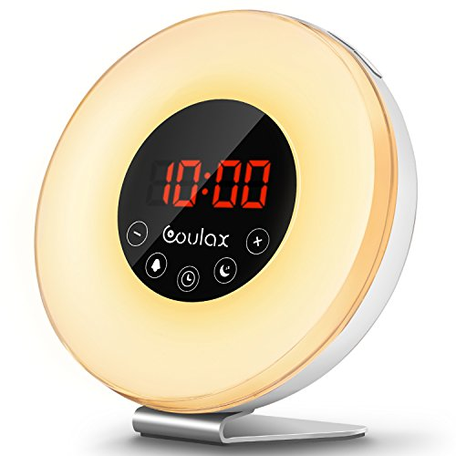 COULAX Wake Up Light Despertador Luz LED Despertador 7 Colores 6 sonidos de la naturaleza Radio FM,Control Táctil y Cable USB despertador con Luz que simula el amanecer