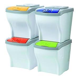 """BAMA Set von 4 Mülleimern """"Poker"""" lt 20 Mülltonne Müllsäcke Abfall"""