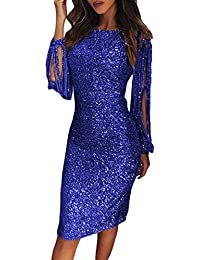 267d5ad2ec0d Happy Sailed Womens Long Tassel Sleeve Sequins Midi Dresses