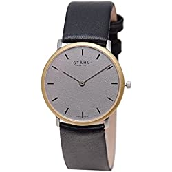 Stahl SWISS MADE Wrist Watch Model: ST61107 - Gold Plated - Small 27mm Case - Bar Grey Dial