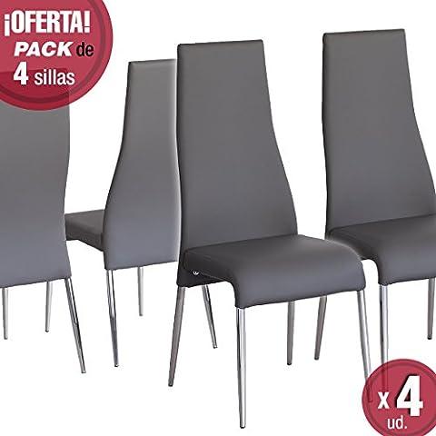 Juego de 4 sillas de comedor Palmira, Tapizada polipiel y patas cromadas (Gris)