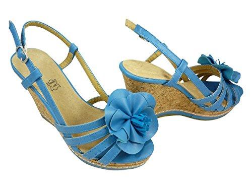 Sandales compensées à plateforme et grande fleur Bleu