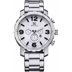 JSDDE Big Face Stainless Steel Watch Band Mens Wrist Quartz Watch(White Face Silver Strap)
