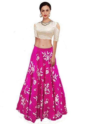 Ziyaan Women's Cotton Silk Semi-Stitched Lehenga Choli( ,Pink,Free Size)