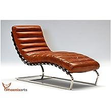 phoenixarts chaise vintage en cuir en cuir vritable injoy chaise longue design recamiere fauteuil chaise longue - Chaise Longue Cuir