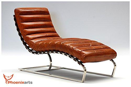 Phoenixarts Chaise Echtleder Vintage Leder Relaxliege Braun Design Recamiere Liege Sessel...