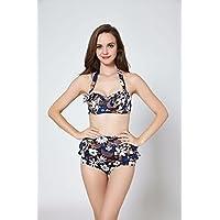 AN Moda de verano simple Western split floral traje de baño personalidad cinturón cintura alta bikini,UN,XL