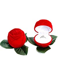 Love Big Red Rose Jewelry Box Wedding Ring Gift With Elegance Ring For Love (Anniversary) Silver Color Wedding...