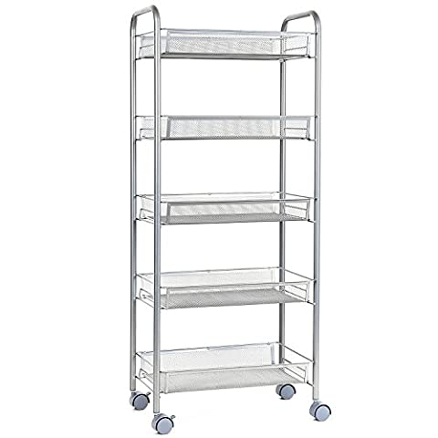 HOMFA Multipurpose Metal Mesh Carts Rolling Storage Rack Sturdy Serving Trolley for Home Kitch Office (5 Tier,