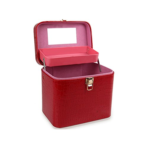 CHENG Aufbewahrungsbox Ling Ge Pu Leder Große Kosmetiktasche Kosmetiktasche,Red (Make-up Mini-handtasche Drucken)