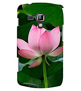 Printvisa Pink and white lotus With Leaves Background Back Case Cover for Samsung Galaxy S Duos S7562