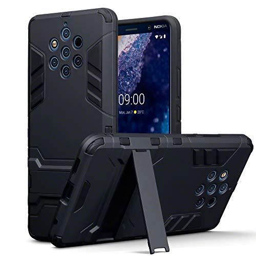 TERRAPIN Cover Nokia 9 PureView, Silicone e Cover di Policarbonato Rigida con Funzione di Appoggio per Nokia 9 PureView Custodia, Colore: Nero