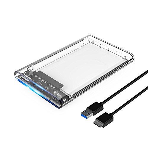"""ORICO 2,5"""" Externes Festplattengehäuse, USB 3.0 auf SATA III 6 Gb/s, für 7mm und 9,5 mm 2,5-Zoll SATA Notebook Interne HDD und SSD, Werkzeugfreie Montage, UASP Beschleunigung (Transparent)"""