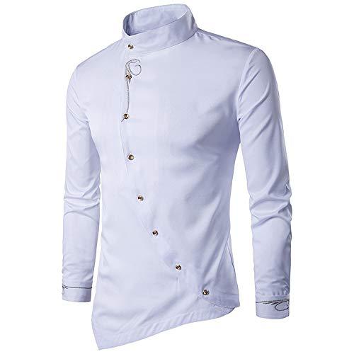 Hemden Herren Slim fit Stickerei Langarm Hemd Stehkragen asymmetrisch Knopf Kragen elegant Hemd Vintage sunnyuk S-2XL -