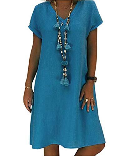 Yutila Damen Leinenkleid für den Sommer V-Ausschnitt Casual Kleid im Boho Look, Blau, XXXL(EU 46)
