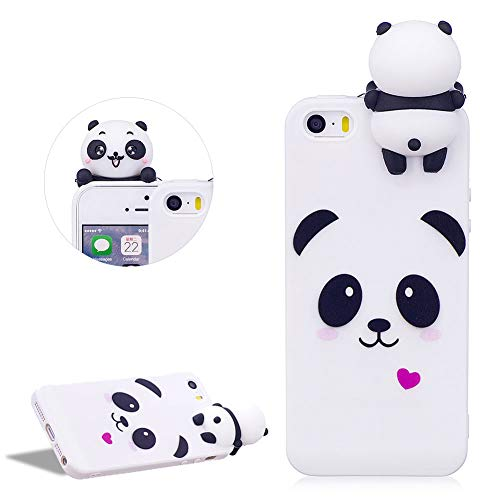 DasKAn Karikatur 3D Panda Silikon Hülle für iPhone 5/5S/SE,Rosa Herz Tiere Muster Einfarbig Matt Ultra Dünn Weich Gummi Rückseite Handytasche Stoßfest Flexibel Gel TPU Schutzhülle,Weiß#1 Iphone 5 Tier