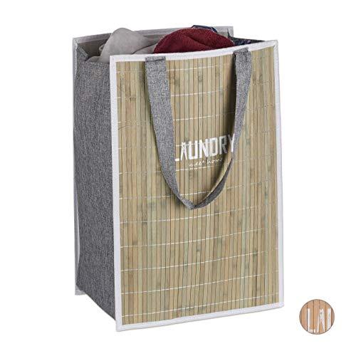 Relaxdays - Cesta de la Colada de bambú, Asas Grandes, 70 L, 60x40x30 cm, Verde, 60 x 40 x 30 cm