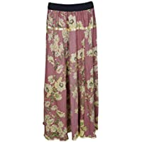 Women Long Skirts Floral Pink Printed Rayon Flare Skirt S/M