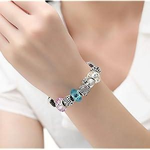 AKKi jewelry Charms Murano Glas Anhänger 2 Starter Set für Armband Kette in Edelstahl Zirkonia Silber Karma,Pandora kompatibel