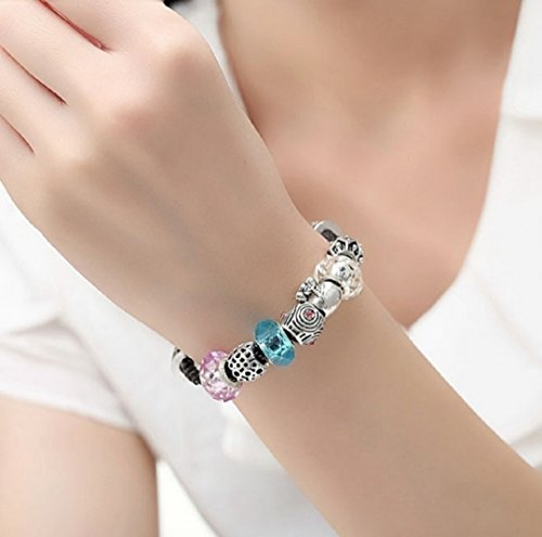 AKKi jewelry Charms Murano Glas Charm Anhänger für Armband Kette Starter Angebot in Pink Rose,Edelstahl Zirkonia Silber Karma Beads,Pandora kompatibel