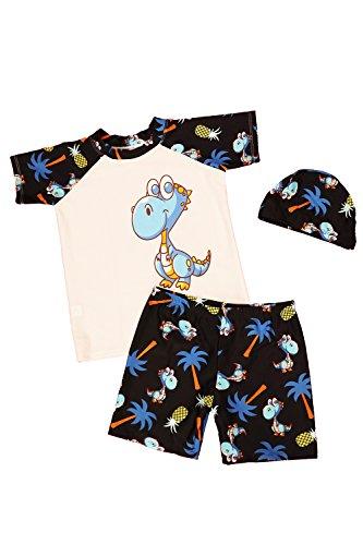 JT-Amigo Maillot de Bain Combinaison Anti-UV Bébé Enfant, T-Shirt + Shorts + Bonnet, A, 2-3 Ans