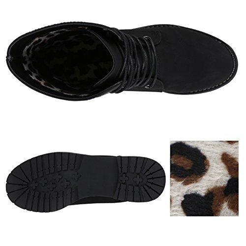 Stiefelparadies Damen Schnürstiefeletten Zipper Nieten Schuhe Strass Schnürschuhe Boots Coole Leder-Optik Schnürer Flandell Schwarz Autol
